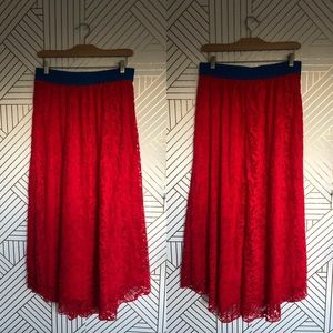 Dresses & Skirts - Lularoe Lucy  lace red maxi long skirt red